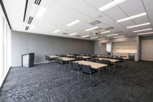 classroom set-up looking north